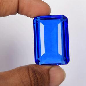 Dark Blue Topaz 80-90 Ct Emerald Cut Faceted Loose Gemstone For Jewellery