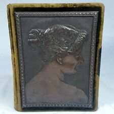 Vtg Antique Photo Album w/ Bronze Embossed Plate of Cleopatra Relief on Front