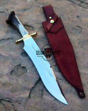 GORGEOUS CUSTOM MADE D-2 TOOL STEEL STAG HORN MIRROR HUNTING BOWIE WITH SHEATH