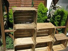 6 Rustic Wooden Apple Crates, ideal storage boxes/display, lighter shade