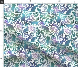 Cats Garden Blue Purple White Background Flower Spoonflower Fabric by the Yard