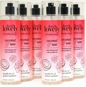 Bodycology 8 Oz Free & Lovely Rose & Coconut Oils Refreshing Mist 6 CT