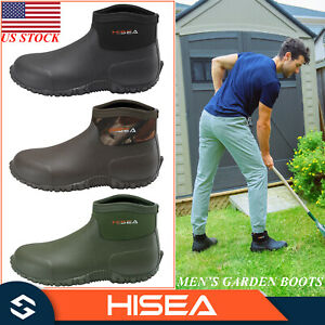 HISEA Men Garden Boots Insulated Rain Shoes Ankle Casual Muck Mud Working Boots