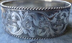 vintage 1977 jubilee hallmark SILVER 49g foliage wide bangle bracelet -A266