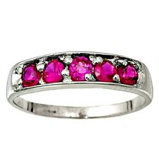.925 Sterling Silver Ring size 4 CZ Kids Midi Ladies Red Ruby Fashion New b67