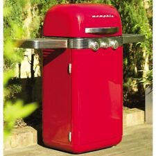 Gas BBQ Grill 2 Burner Outdoor Garden Patio Cooking Barbeque Retro Red Barbecue