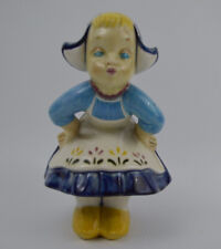 Kiss Me Dutch Girl Glazed Ceramic Figurine  Blue Floral Dress Statue Display Vtg