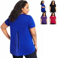Just My Size Top Blouse Pleated Back Hi-Low Hem OJ374