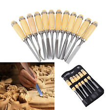 12PCS Wood Carving Hand Chisel Tool Set Professional Woodworking Gouges + Bag