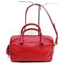 Authentic Saint Laurent Paris Hand Bag Baby duffle Reds Leather 904295