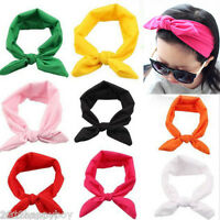 1Pc Cute Girls Bunny Ears Bow Tie Wire Bendy Headband Hair Scarf Head Wrap Band