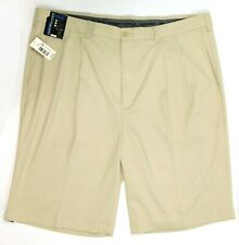 NWT Roundtree York Performance Men Activewear Pleated Golf Shorts 42T Tall Stone