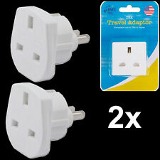 2x UK To USA AMERICA JAPAN Europe 2 Pin Power Adapter Converter For Home Office
