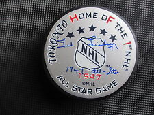 TED LINDSAY DETROIT RED WINGS H.O.F. AUTOGRAPHED 1947 ALL STAR PUCK