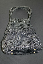 RARE 1960'S VINTAGE HAND MADE JAPANESE BLACK WOVEN AND BEADED STRAW  PURSE