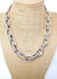 "John Hardy JAI Floral Bold Status Link Sterling Silver Necklace 16-20""  85g NIB"
