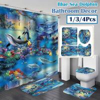 Blue Sea Dolphin Print Waterproof Bathroom Shower Curtain Toilet Cover Mat Set