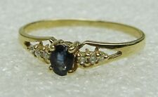 BLUE SAPPHIRE RING / DIAMOND ACCENTS SET IN 14K YELLOW GOLD SIZE 6.75  N517-L
