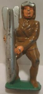 Old Toy Lead Military Soldier Aviator w/Goggles & Lg Missile - Airplane Figure