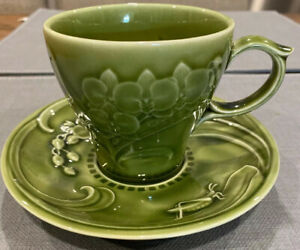 Green Grasshopper & Butterflies Coffee Tea Cup And Saucer VG Condition
