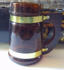 Vintage Price Wood Beer Rack and Mugs With Amber Glass And Wooden Handles w/box
