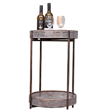 NEW RUSTIC INDUSTRIAL SIDE TABLE DRINKS STAND ROUND METAL FRAME