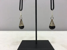Earrings Black Onyx Crystal Dangle Etched Silver Teardrop Earrings E154