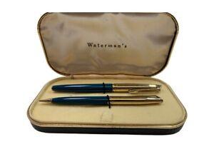 Green Vintage Waterman's 14K Gold Nib Lever Fountain Pen Pencil Set Original Box