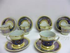 "Set of  6 Vintage German Lustre Ware Miniature Coffee Cups and Saucers (2"")"