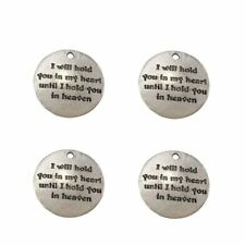 "Pack of 10 Alloy Silver ""I Will Hold You.."" Round DIY Antique Message Charm B1Q4"