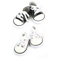 2 Pair of Doll Lace Up Canvas Sneakers Shoes for 18'' AG American Doll Dolls