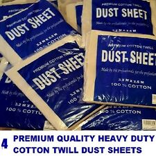 FOUR (4) X LARGE HEAVY  100%  COTTON TWILL PROFESSIONAL DECORATING DUST SHEETS