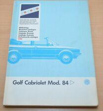 VW Golf I 1 Cabriolet Ersatzteilkatalog Bildkatalog Volkswagen Werkstatthandbuch