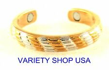 Stripes Alloy Magnetic Adjustable Band Two Tone Toe Ring Gold/Silver MTR-A