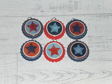 6 Americana Patriotic July 4 STAR Blue Red Bottle Caps Charms Mini Tree Ornament