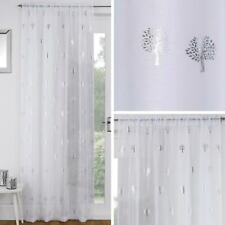 White Voile Curtain Silver Metallic Tree Slot Top Panels Rod Pocket Sheer Voiles