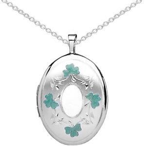 New Celtic Silver & Green Enamel Shamrock Oval Locket Jewellery