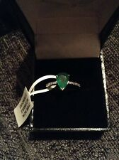 Perfect engagement ring!Emerald & Diamond 9carat white gold ring REDUCED