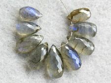 Natural Labradorite Faceted Pear Briolette Semi Precious Gemstone Beads 019