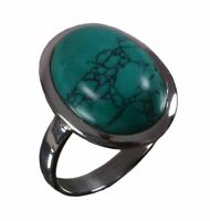 Handmade 925 Solid Sterling Silver Ring Natural Turquoise Stone US Size 8 R962