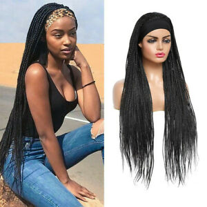 Headband Wig Box Braided Wigs for Black Women Micro Braids Long Wigs Synthetic