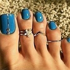 3x/Set Silver Rhinestone Crystal Daisy Toe Ring Finger Beach Foot Boho JewelryS*