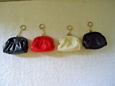 "Lot Of 4 Vintage "" NOS "" 3 Compartment Keychain Coin Purses "" BEAUTIFUL ITEMS """