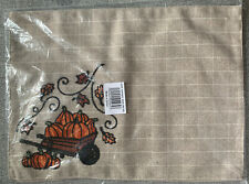 New listing New 2 Autum Placemats Luncheon Mats Fall Pumpkin Embroidered Beige Orange