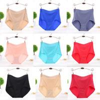 Women's 100% Cotton Plus Size Underpants Pure Colour High Waist Seamless Briefs