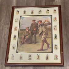 Clement Flower framed Golf art signed auto picture litho print 1912 Triumvirate