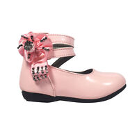 Girls Baby Infant Wedding Bridesmaid Pink Party Shoes Size 3 -7