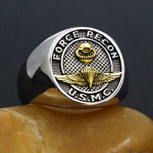 US Marine Corps Force Recon USMC Military Jewelry Silver Ring