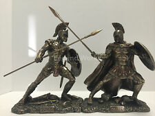 Achilles and Hector unleashed set bronze finish statue home decor figure hot new