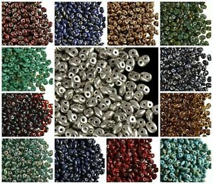 CHOOSE COLOR! 20g 2-hole SuperDuo Seed Beads Picasso and Traventine Czech Glass